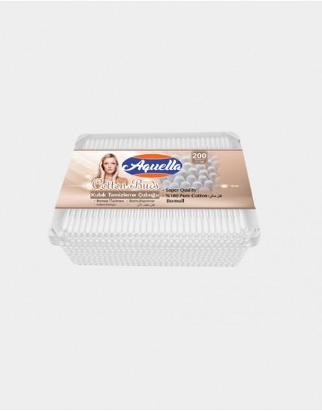 Aquella Fashion cotton buds in square plastic box 200pcs